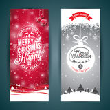 Vector Merry Christmas and Happy New Year greeting card illustration with typographic design and snowflakes on winter landscape ba Royalty Free Stock Photo