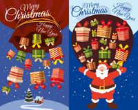 Vector Merry Christmas and Happy New Year greeting card set with cute Santa claus and gifts, cartoon style, banner, flyer, vector,. Vector Merry Christmas and Stock Images