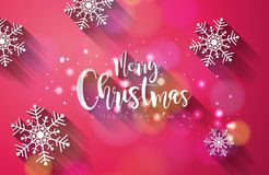 Vector Merry Christmas and Happy New Year Illustration on Shiny Snowflake Background with Typography Design. Vector Merry Christmas and Happy New Year Stock Photos