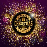 Vector Merry Christmas and Happy New Year Illustration with Typography Design on Shiny Glittered Background. EPS 10. Vector Merry Christmas and Happy New Year Stock Photo