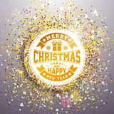 Vector Merry Christmas and Happy New Year Illustration with Typography Design on Shiny Glittered Background. EPS 10. Vector Merry Christmas and Happy New Year Royalty Free Stock Photo