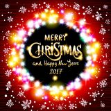 Vector merry christmas and Happy new year 2017. red background with lights. Design template, vector background with place for your text art Stock Photo