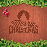 Vector Merry Christmas Holiday and Happy New Year illustration with engraved typographic design and snowflakes on wintage wood bac. Kground. EPS 10 illustration Royalty Free Stock Image