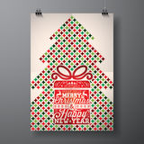 Vector Merry Christmas Holiday and Happy New Year illustration with typographic design and abstract color texture pattern on clean Stock Image
