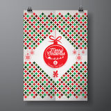Vector Merry Christmas Holiday and Happy New Year illustration with typographic design and abstract color texture pattern on clean Stock Photography