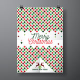 Vector Merry Christmas Holiday and Happy New Year illustration with typographic design and abstract color texture pattern on clean Stock Photos