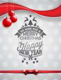 Vector Merry Christmas Holiday and Happy New Year illustration with typographic design and glass balls on snowflakes background. Royalty Free Stock Images