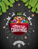 Vector Merry Christmas Holiday and Happy New Year illustration with typographic design and snowflakes on vintage wood background. Royalty Free Stock Photo