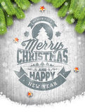 Vector Merry Christmas Holiday and Happy New Year illustration with typographic design and snowflakes on vintage wood background. Royalty Free Stock Images