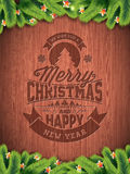 Vector Merry Christmas Holiday and Happy New Year illustration with typographic design and snowflakes on wintage wood background. Royalty Free Stock Images
