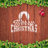 Vector Merry Christmas Holiday and Happy New Year illustration with typographic design and snowflakes on wintage wood background. Stock Photography