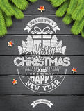 Vector Merry Christmas Holiday and Happy New Year illustration with typographic design and snowflakes on wintage wood background. Stock Photos