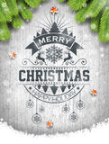 Vector Merry Christmas Holiday and Happy New Year illustration with typographic design and snowflakes on wintage wood background. Stock Images