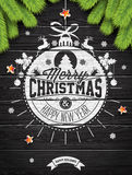 Vector Merry Christmas Holiday and Happy New Year illustration with typographic design and snowflakes on wintage wood background. Royalty Free Stock Photography