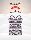 Vector Merry Christmas Holiday and Happy New Year illustration with typographic design and snowflakes on winter landscape  Royalty Free Stock Images