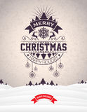 Vector Merry Christmas Holiday and Happy New Year illustration with typographic design and snowflakes on winter landscape  Royalty Free Stock Photography