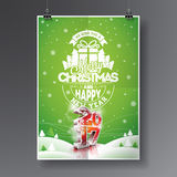 Vector Merry Christmas Holiday and Happy New Year 2017 illustration with typographic design and snowflakes on winter landscape bac Royalty Free Stock Images
