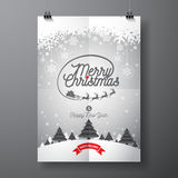 Vector Merry Christmas Holiday and Happy New Year illustration with typographic design and snowflakes on winter landscape backgrou Royalty Free Stock Images