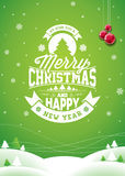 Vector Merry Christmas Holiday and Happy New Year illustration with typographic design and snowflakes on winter landscape backgrou Stock Photo