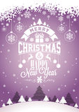 Vector Merry Christmas Holiday and Happy New Year illustration with typographic design and snowflakes on winter landscape backgrou Royalty Free Stock Image