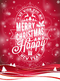 Vector Merry Christmas Holiday and Happy New Year illustration with typographic design and snowflakes on winter landscape backgrou Stock Image
