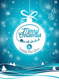 Vector Merry Christmas Holiday and Happy New Year illustration with typographic design and snowflakes on winter landscape backgrou Stock Images