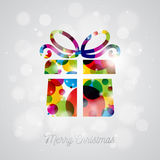 Vector Merry Christmas Holiday illustration with abstract gift box design on shiny background. Stock Photography