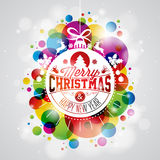 Vector Merry Christmas Holiday illustration with abstract glass ball and typography design on shiny color background. Royalty Free Stock Image