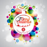 Vector Merry Christmas Holiday illustration with abstract glass ball and typography design on shiny color background. Royalty Free Stock Photography