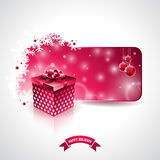 Vector Merry Christmas Holiday illustration with magic gift box and snowflakes on red background. EPS 10 illustration Royalty Free Stock Photo