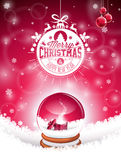 Vector Merry Christmas Holiday illustration with typographic design and magic snow globe on snowflakes background. Stock Photography