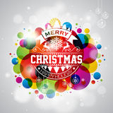 Vector Merry Christmas Holiday illustration with typography design on abstract shiny color background. Stock Image