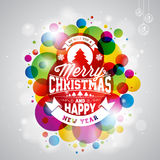 Vector Merry Christmas Holiday illustration with typography design on abstract shiny color background. Stock Photography