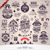 Vector Merry Christmas Holidays and Happy New Year illustration with typographic design set on winter landscape background. Royalty Free Stock Photography