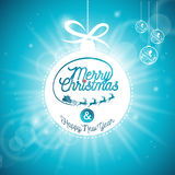 Vector Merry Christmas Holidays and Happy New Year illustration with typographic design and shiny glass ball on blue background. Royalty Free Stock Images