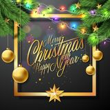 Vector Merry Christmas Illustration on Black Background   Stock Photos