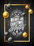 Vector Merry Christmas Illustration on Black Snowflake Texture Background with Typography and Holiday Elements. Stars Royalty Free Stock Photos