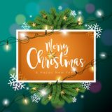 Vector Merry Christmas Illustration on Dark Green Background with Typography and Holiday Light Garland, Pine Branch Royalty Free Stock Image