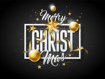 Vector Merry Christmas Illustration with Gold Glass Ball, Cutout Paper Star and Typography Elements on Black Background Stock Photo
