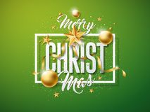 Vector Merry Christmas Illustration with Gold Glass Ball, Cutout Paper Star and Typography Elements on Green Background Stock Photos