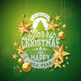 Vector Merry Christmas Illustration with Gold Glass Ball, Cutout Paper Star and Typography Elements on Green Background Royalty Free Stock Photos