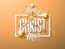 Vector Merry Christmas Illustration with Gold Glass Ball, Cutout Paper Star and Typography Elements on Light Brown Royalty Free Stock Image