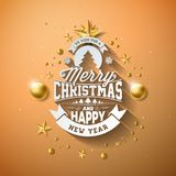 Vector Merry Christmas Illustration with Gold Glass Ball, Cutout Paper Star and Typography Elements on Light Brown Royalty Free Stock Photography