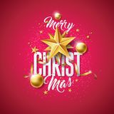 Vector Merry Christmas Illustration with Gold Glass Ball, Cutout Paper Star and Typography Elements on Red Background. Holiday Design for Premium Greeting Card Royalty Free Stock Photo