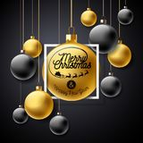 Vector Merry Christmas Illustration with Gold Glass Ball and Typography Elements on Black Background. Holiday Design for Stock Photography