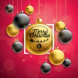Vector Merry Christmas Illustration with Gold Glass Ball and Typography Elements on Red Background. Holiday Design for. Premium Greeting Card, Party Invitation Royalty Free Stock Photos