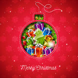 Vector Merry Christmas illustration with holiday elements in a sewing glass ball on snowflake pattern background. Stock Photography