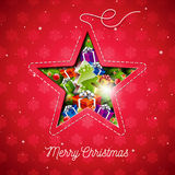 Vector Merry Christmas illustration with holiday elements in a sewing star on snowflake pattern background. Royalty Free Stock Images