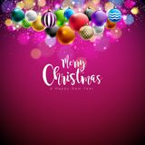 Vector Merry Christmas Illustration with Multicolor Ornamental Balls on Shiny Red Background. Happy New Year Design for Royalty Free Stock Photography