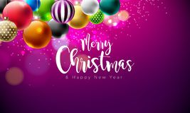 Vector Merry Christmas Illustration with Multicolor Ornamental Balls on Shiny Violet Background. Happy New Year Design Royalty Free Stock Photography